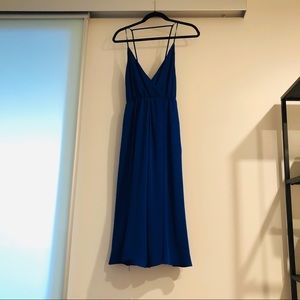 Aritzia Talula Halter Midi Blue dress